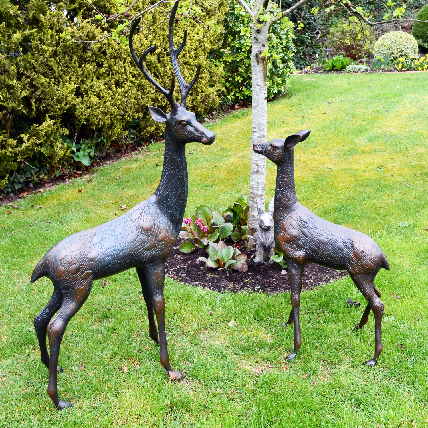 Solstice Sculptures Deer Pair Large Aluminium Dark Verdigris - Ruby's Garden Boutique
