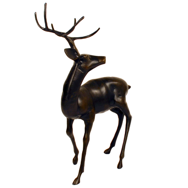 Solstice Sculptures Stag Large Aluminium Dark Bronze Effect - Ruby's Garden Boutique