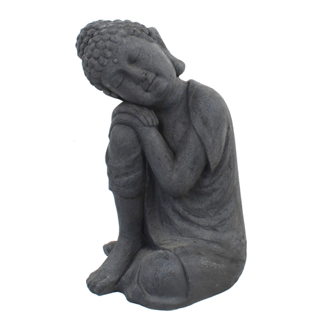 Solstice Sculptures Buddha Crouching Grey Charcoal Effect - Ruby's Garden Boutique