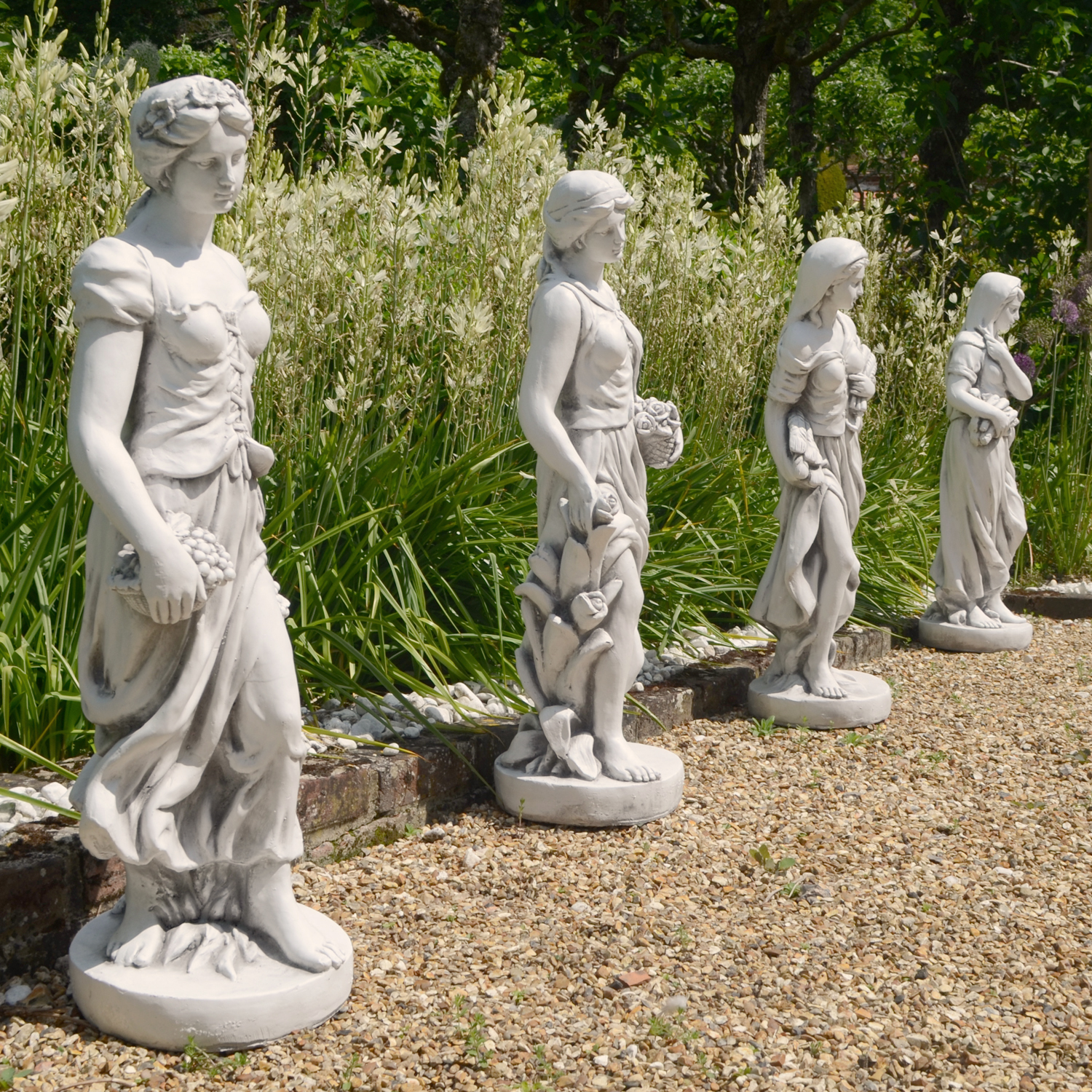 Solstice Sculptures Wilma In Winter 84cm White Stone Effect - Ruby's Garden Boutique