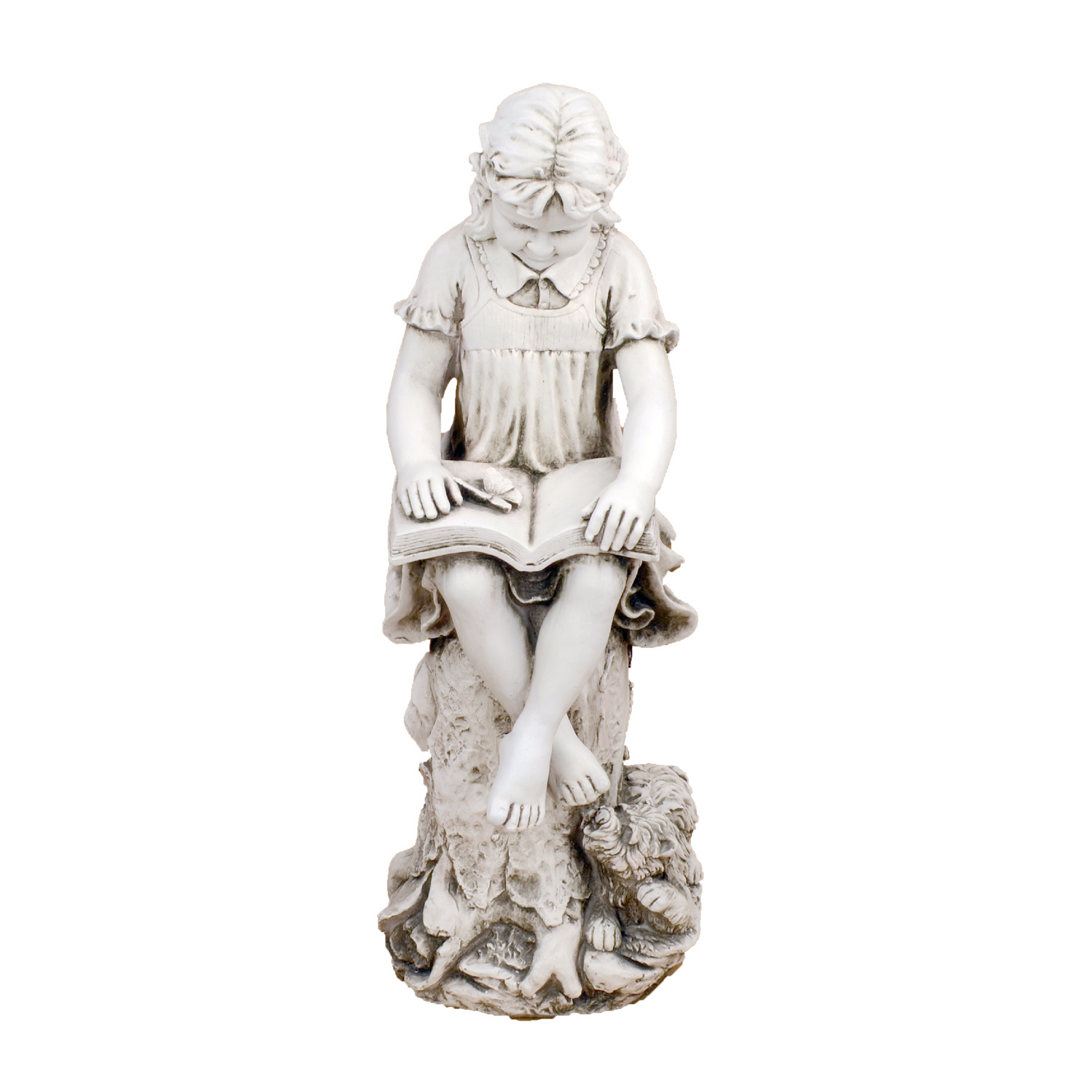 Solstice Sculptures Mary Reading Girl Antique Stone Effect - Ruby's Garden Boutique