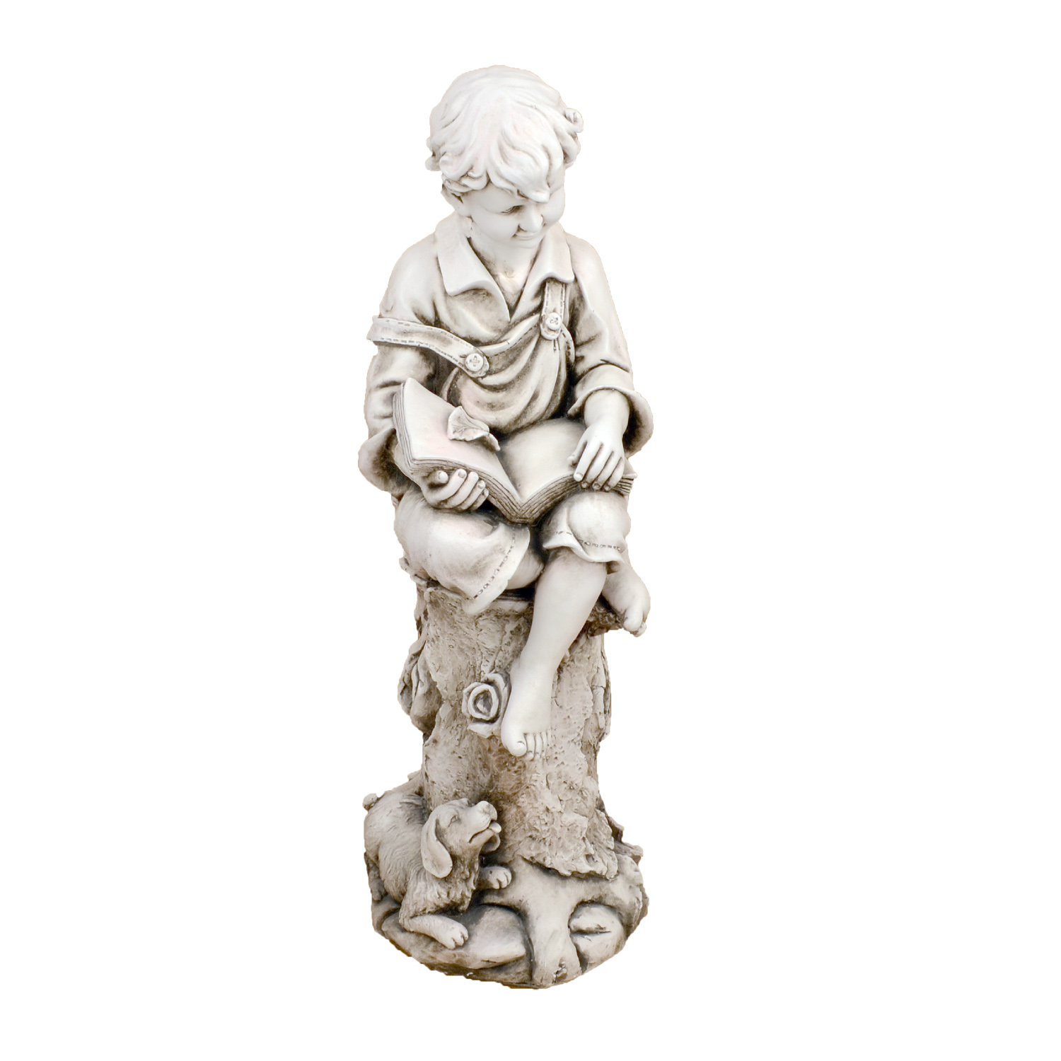 Solstice Sculptures Matthew Reading Boy Antique Stone Effect - Ruby's Garden Boutique