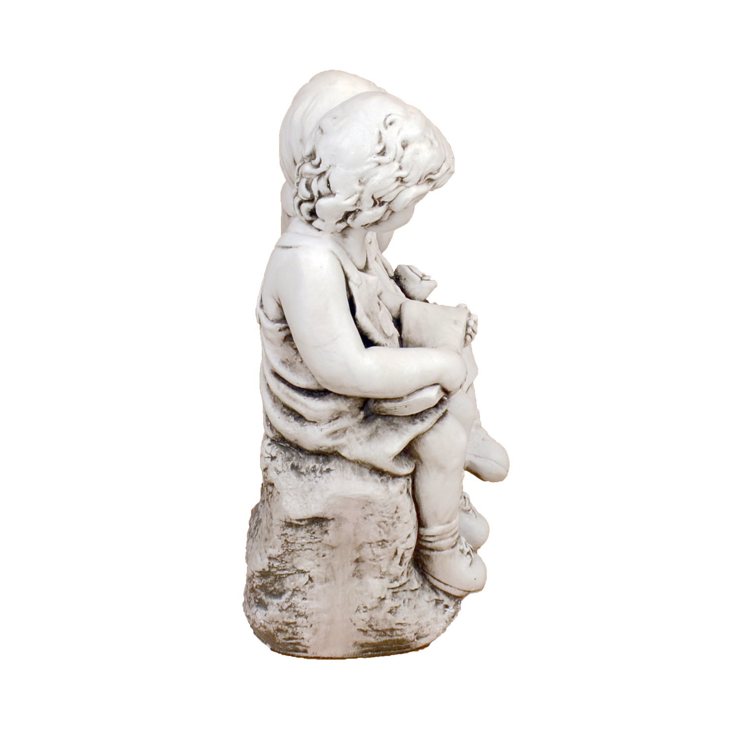 Solstice Sculptures Jack & Jill Sitting Antique Stone Effect - Ruby's Garden Boutique