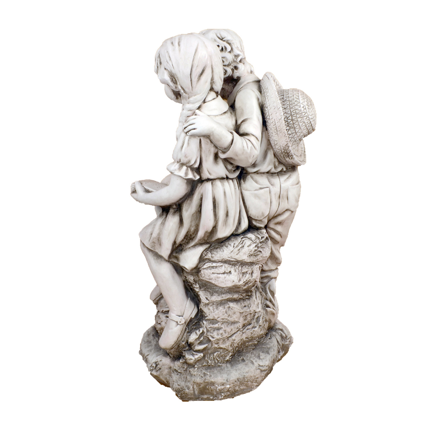 Solstice Sculptures Jack & Jill Reading Antique Stone Effect - Ruby's Garden Boutique