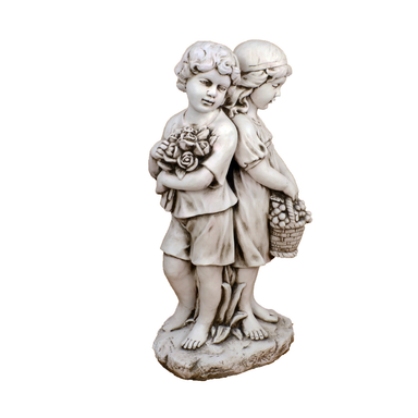 Solstice Sculptures Jack & Jill Standing Antique Stone Effect - Ruby's Garden Boutique