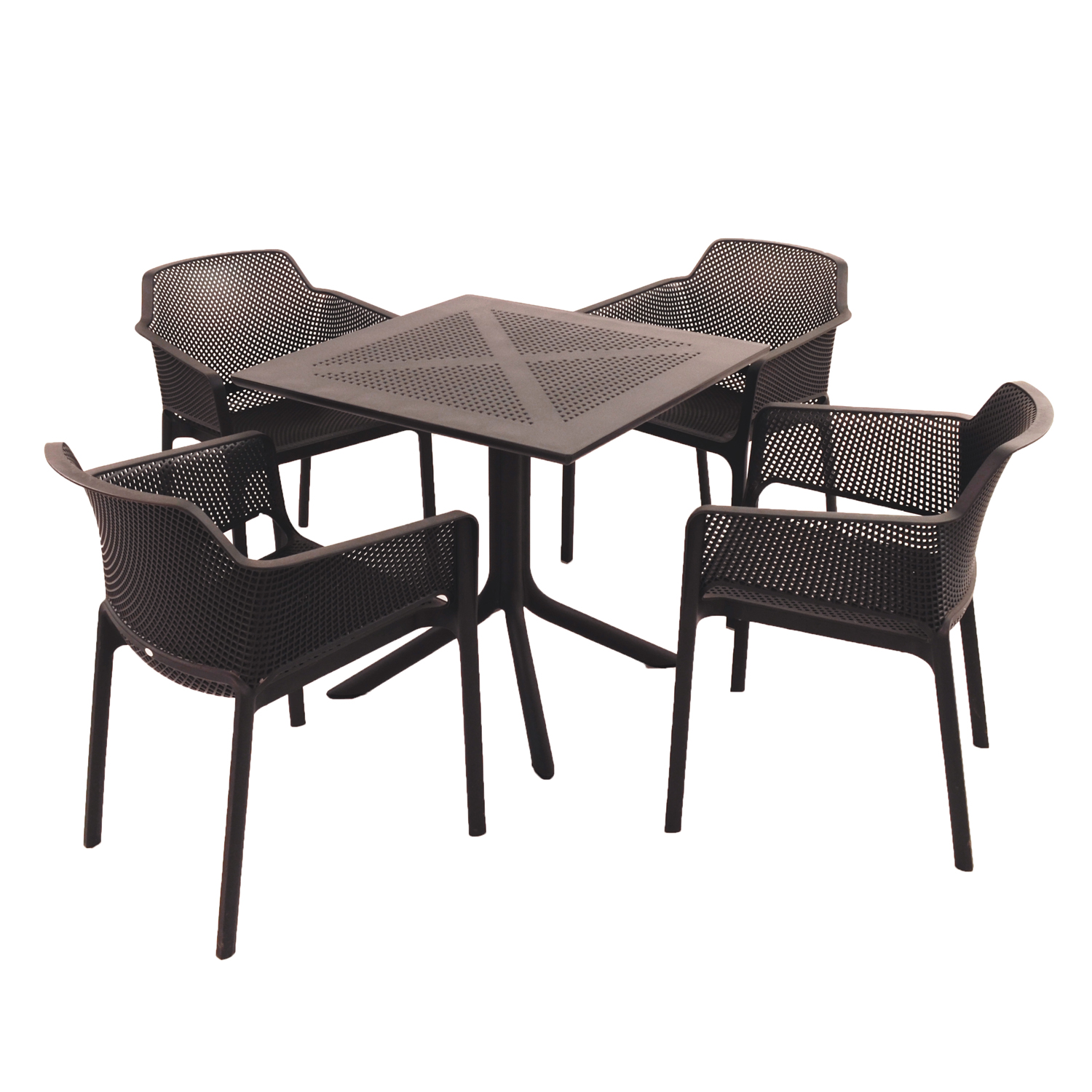 Nardi Anthracite Clip Table with 4 Net Chair Set - Ruby's Garden Boutique