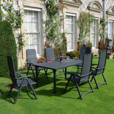 Nardi Anthracite Libeccio Table with 6 Darsena Chair Set - Ruby's Garden Boutique