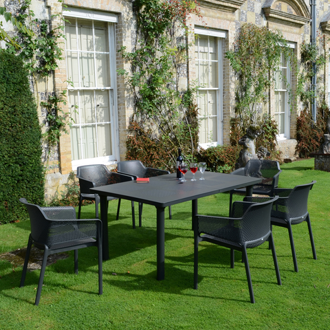 Nardi Anthracite Libeccio Table With 6 Net Chair Set - Ruby's Garden Boutique