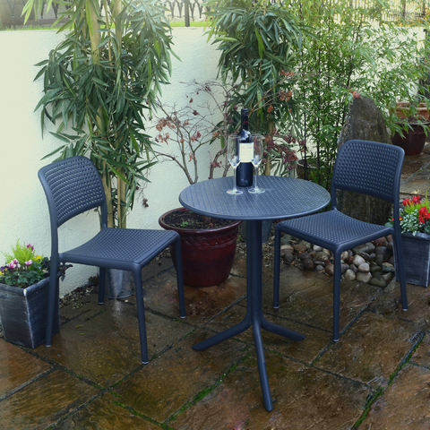 Nardi Anthracite Step Table With 2 Bistrot Chair Set - Ruby's Garden Boutique