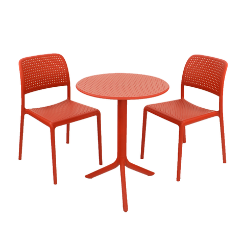 Nardi Red Step Garden Table With 2 Bistrot Chair Outdoor Set - Ruby's Garden Boutique