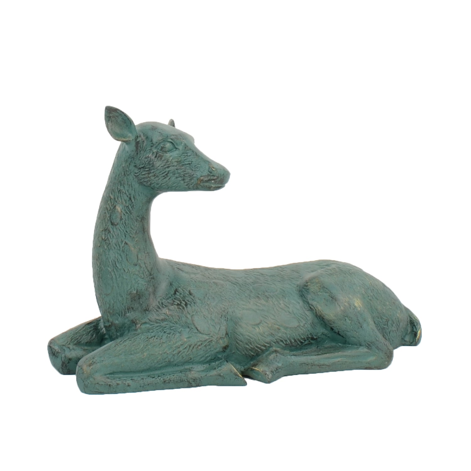 Solstice Sculptures Deer Lying Large 36cm Aluminium Gold Verdigris - Ruby's Garden Boutique