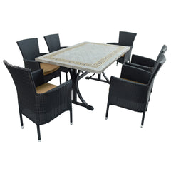 Byron Manor Burlington Ceramic Garden Dining Table With 6 Stockholm Black Chairs - Ruby's Garden Boutique