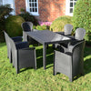 Image of Trabella Roma Rectangular Table With 6 Sicily Chairs Set Anthracite - Ruby's Garden Boutique