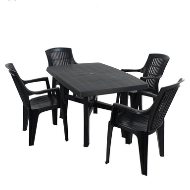 Trabella Taranto Table with 4 Parma Chairs Garden Set in Anthracite - Ruby's Garden Boutique