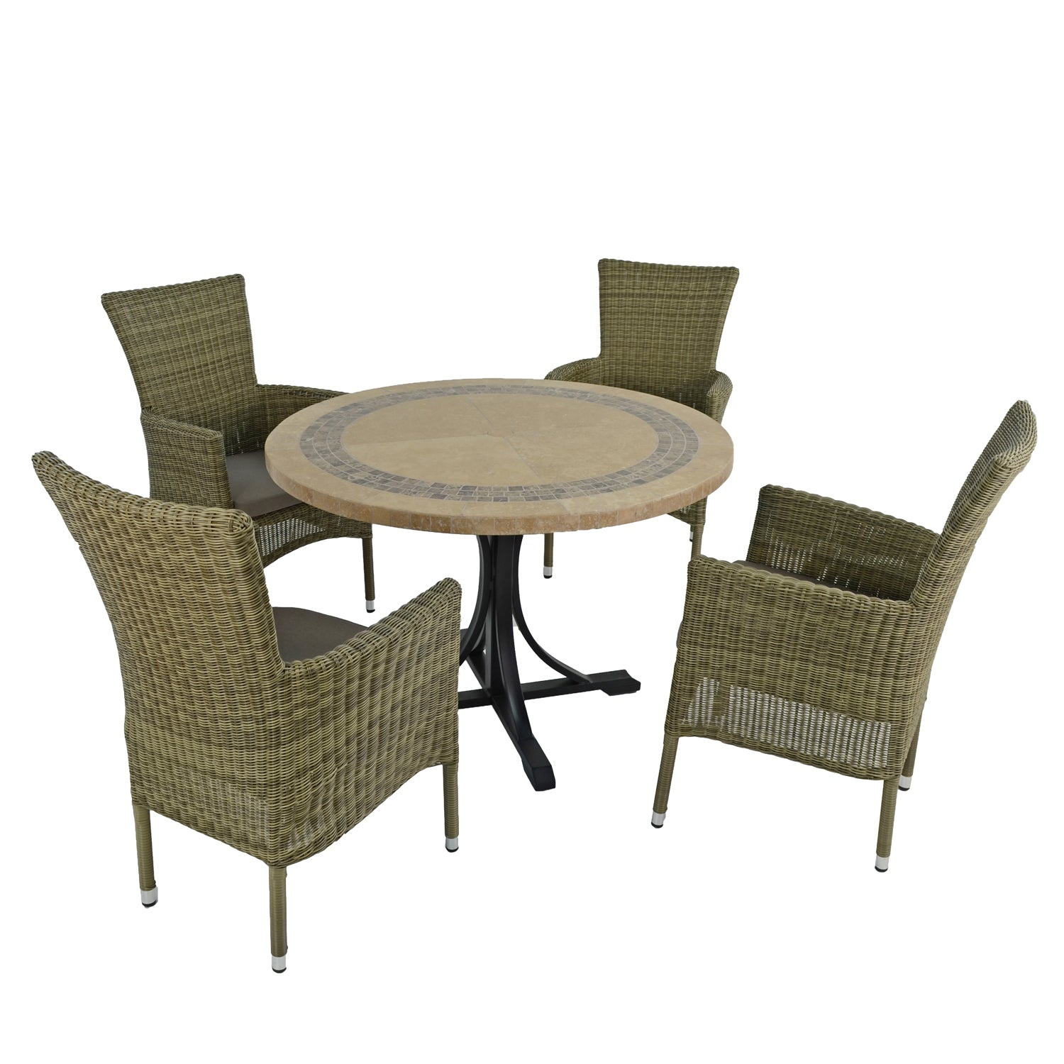 Byron Manor Vermont Garden Dining Table With 4 Dorchester Chairs Set - Ruby's Garden Boutique