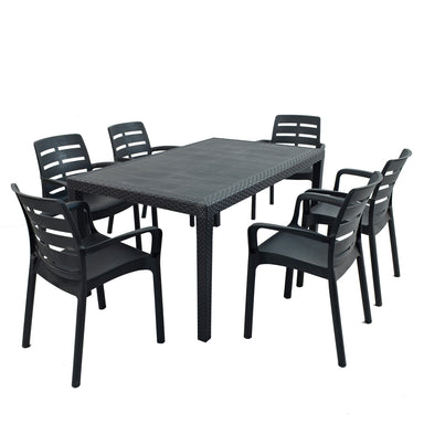Trabella Salerno Dining Table With 6 Siena Chairs Garden Set in Anthracite - Ruby's Garden Boutique