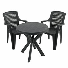 Trabella Tivoli Table With 2 Parma Chairs Garden Set Anthracite - Ruby's Garden Boutique