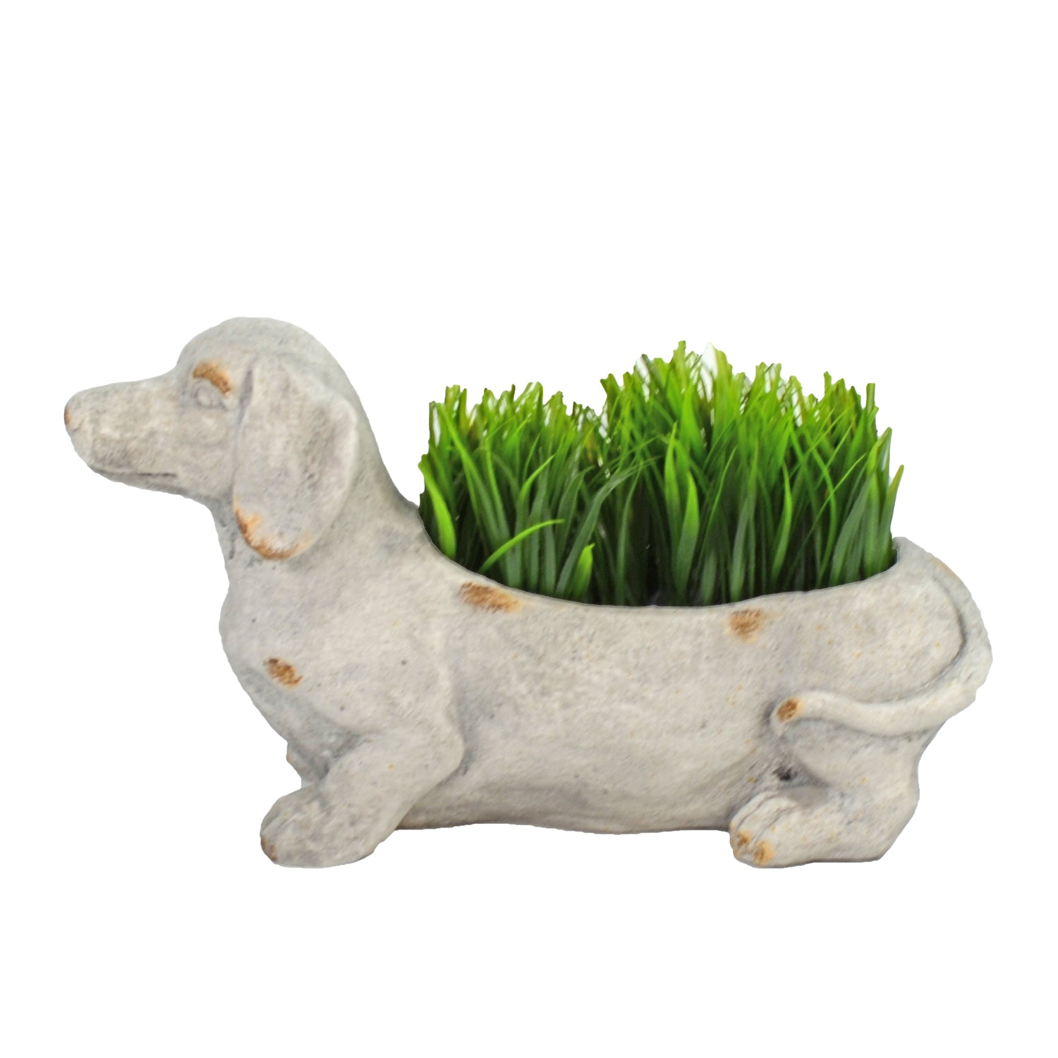 Solstice Sculptures Sausage Dog Planter 30cm Weathered Stone Effect - Ruby's Garden Boutique
