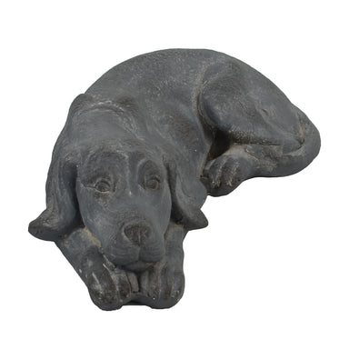 Solstice Sculptures Dog Lying 15cm Blue Iron Effect - Ruby's Garden Boutique
