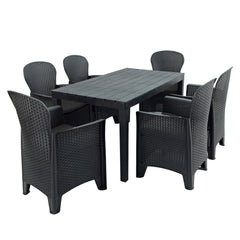 Trabella Roma Rectangular Table With 6 Sicily Chairs Set Anthracite - Ruby's Garden Boutique