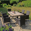 Image of Byron Manor Charleston Dining Table With 6 Stockholm Brown Chairs - Ruby's Garden Boutique