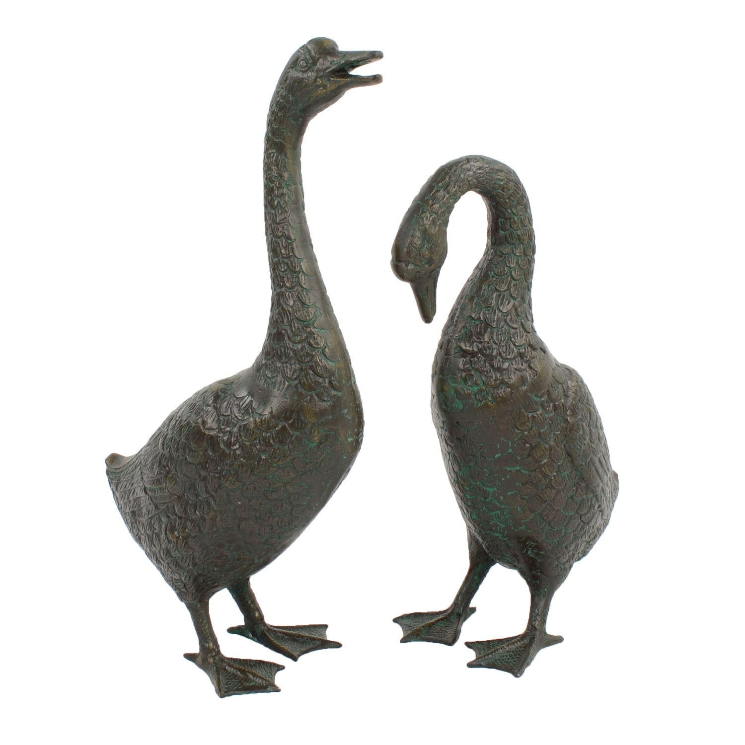 Solstice Sculptures Goose Low 55cm Aluminium Dark Verdigris - Ruby's Garden Boutique