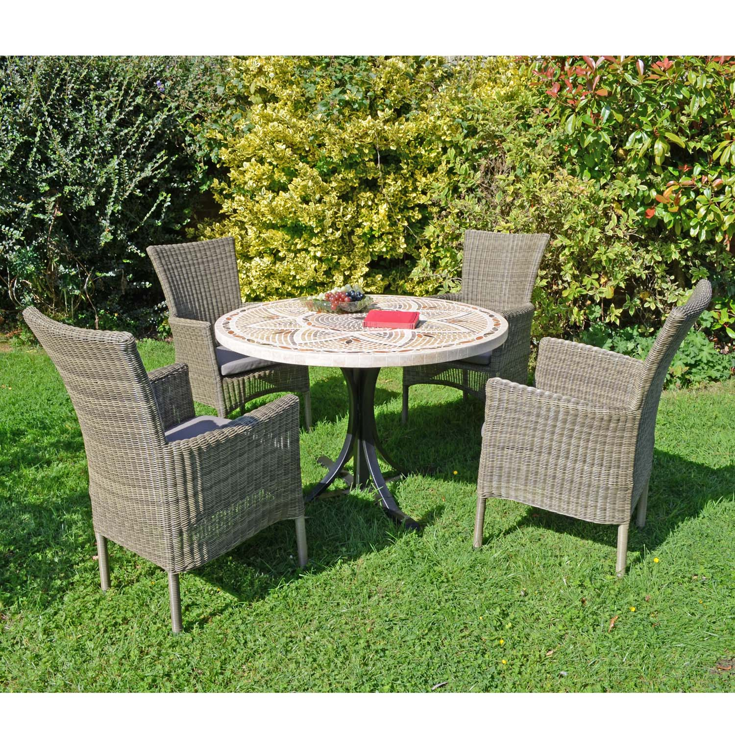 Byron Manor Montpellier Garden Dining Table With 4 Dorchester Chairs Set - Ruby's Garden Boutique