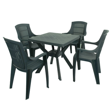 Trabella Turin Table With 4 Parma Chairs Garden Set in Green - Ruby's Garden Boutique