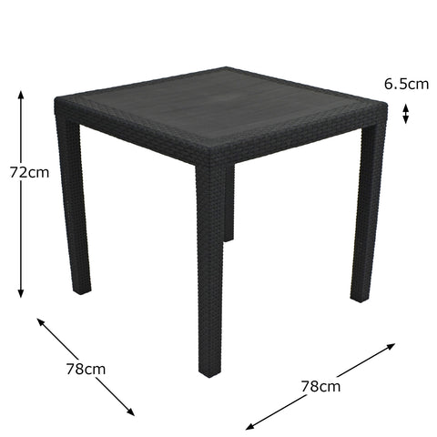 Trabella Salerno Square Table Anthracite - Ruby's Garden Boutique