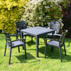 Image of Trabella Salerno Square Table With 4 Siena Chairs Garden Set Anthracite - Ruby's Garden Boutique