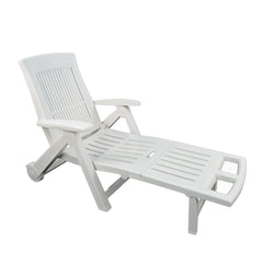 Trabella Potenza Plastic Sun Lounger in White - Ruby's Garden Boutique