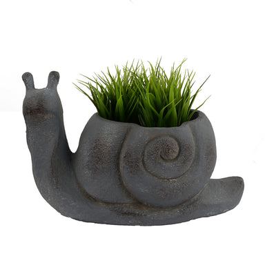 Solstice Sculptures Snail Planter 24cm Blue Iron Effect - Ruby's Garden Boutique