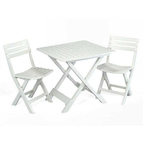 Trabella Brescia Folding Table With 2 Brescia Chairs Set White - Ruby's Garden Boutique