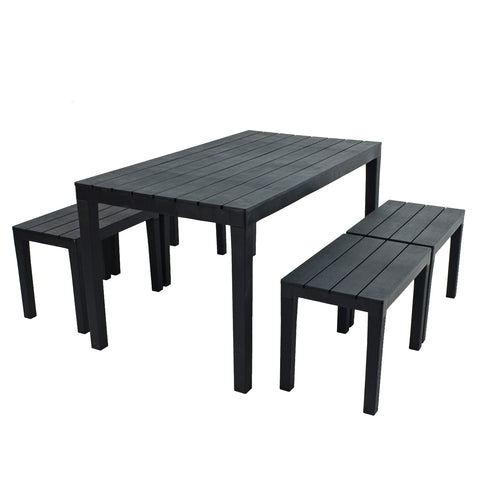 Trabella Roma Rectangular Table With 4 Roma Bench Set Anthracite - Ruby's Garden Boutique