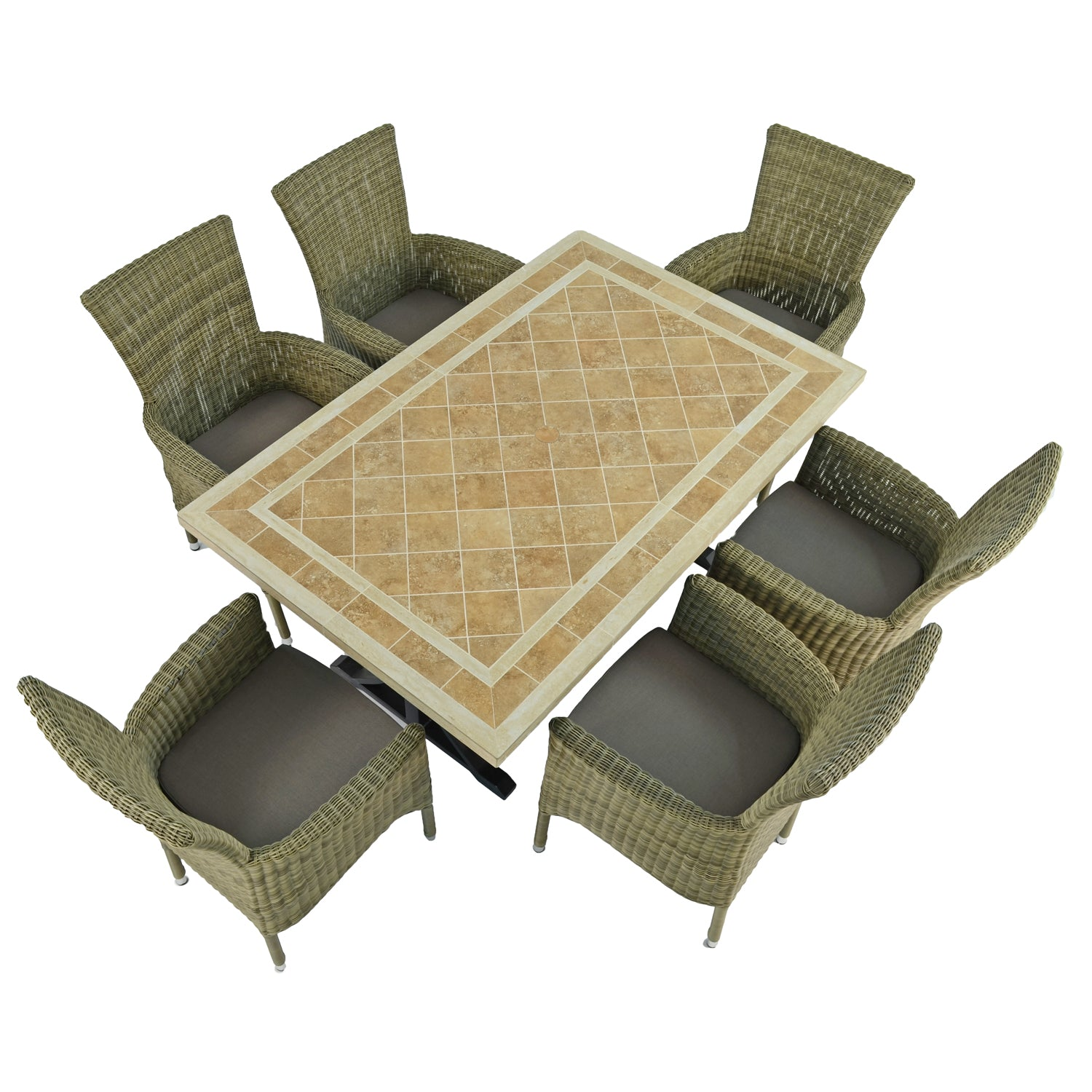 Byron Manor Hampton Garden Dining Table with 6 Dorchester Chairs Set - Ruby's Garden Boutique