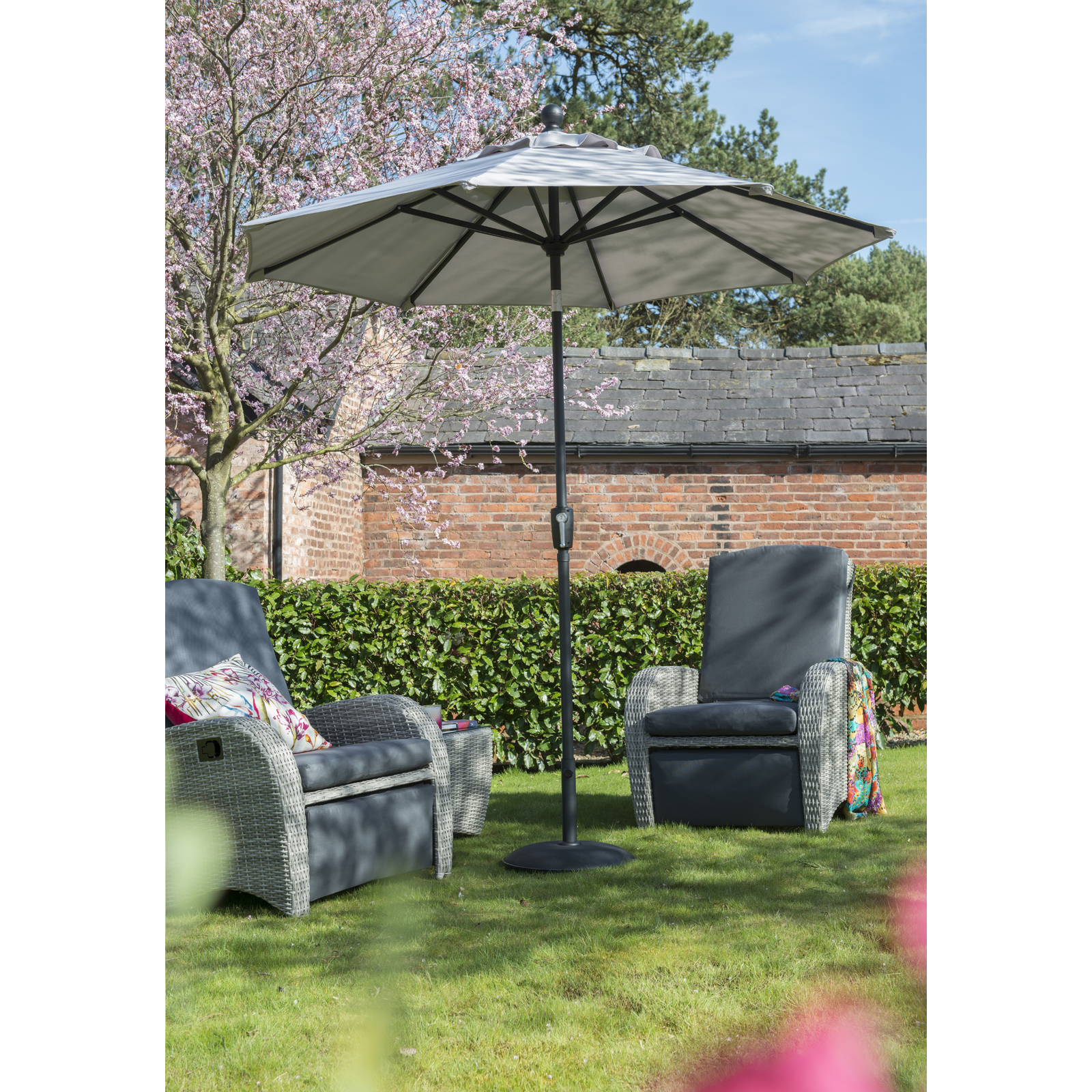 Garden Must Haves Elizabeth Mouse Grey Parasol 2.2m