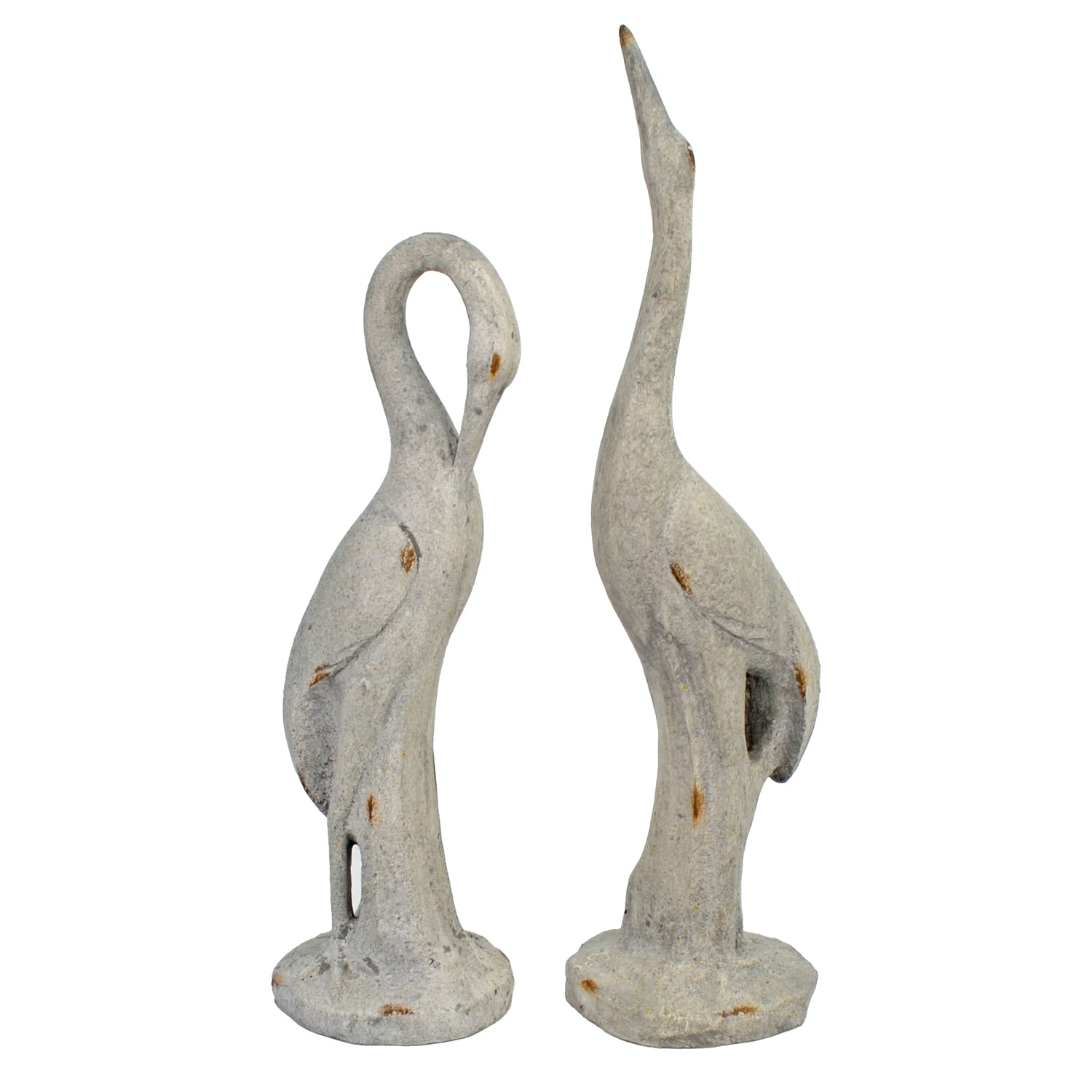 Solstice Sculptures Egret Low 58cm Weathered Stone Effect - Ruby's Garden Boutique