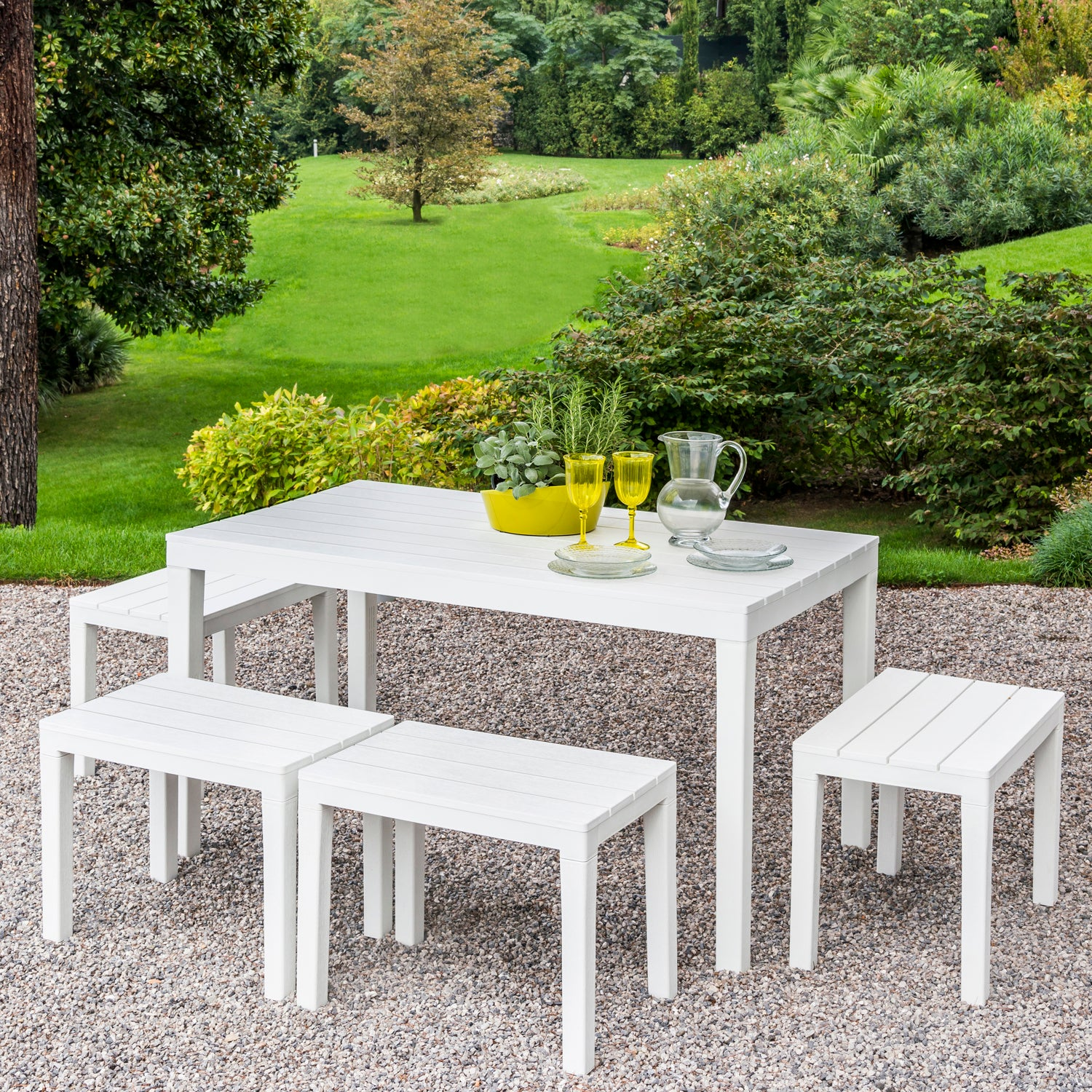 Trabella Roma Rectangular Garden Table With 4 Roma Bench Set in White - Ruby's Garden Boutique