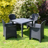 Image of Trabella Salerno Square Table With 4 Sicily Chairs Garden Set Anthracite - Ruby's Garden Boutique