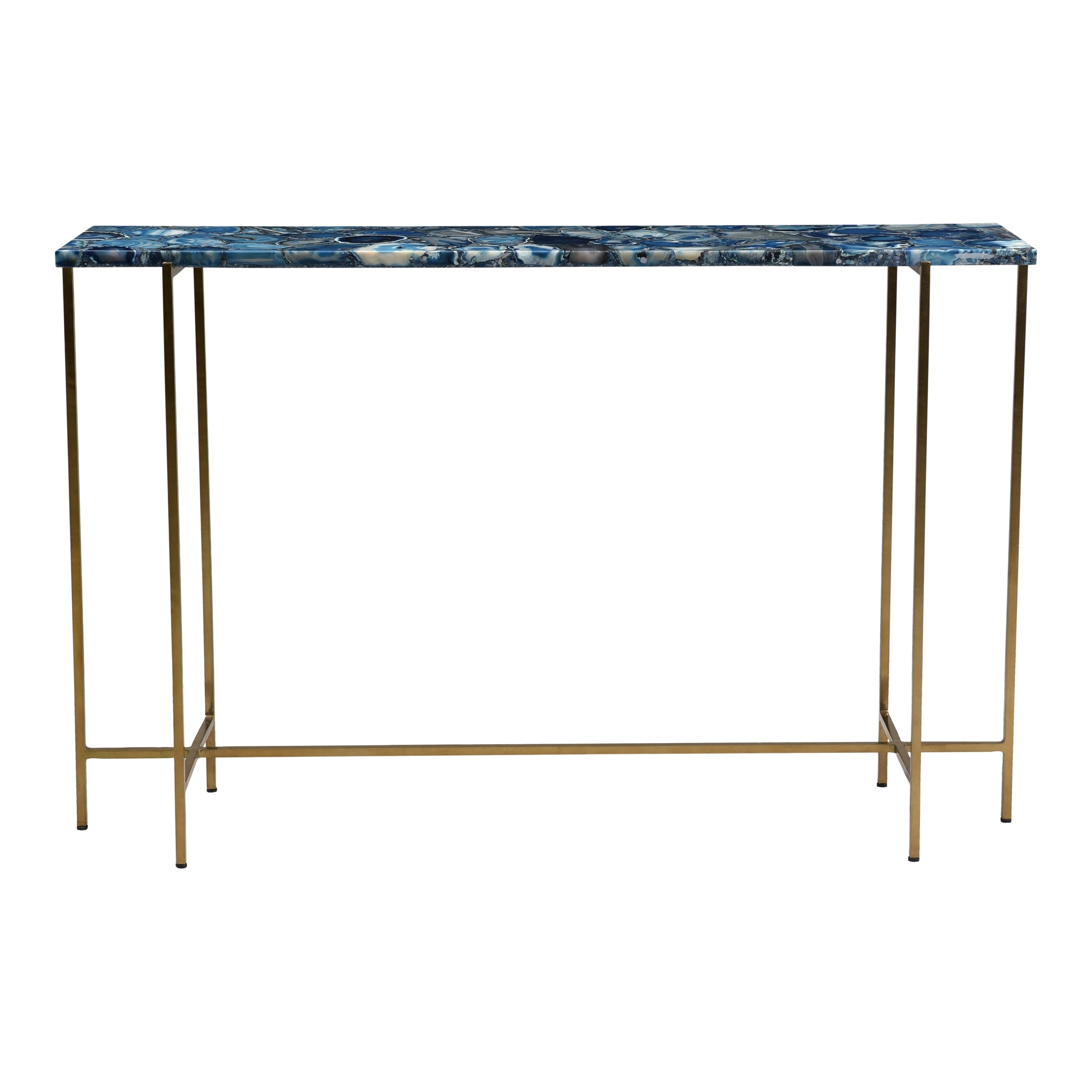 Blue agate console table, blue - Tops-Dress
