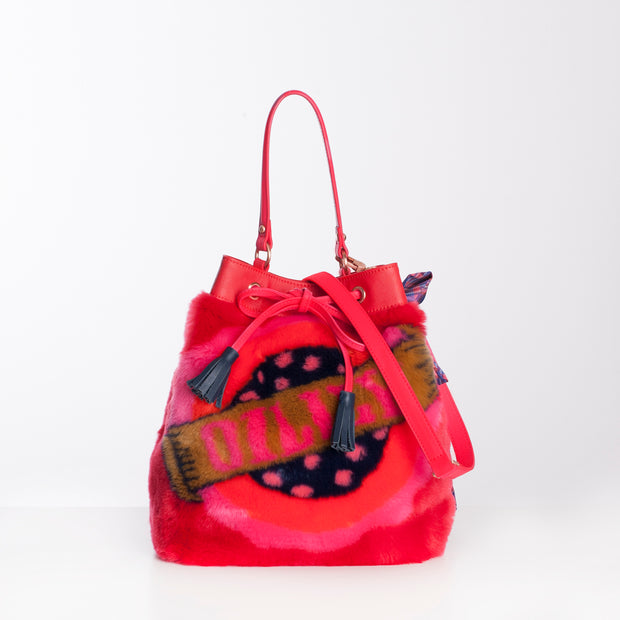 Bucket Tas Bag Fake Fur Jacquard