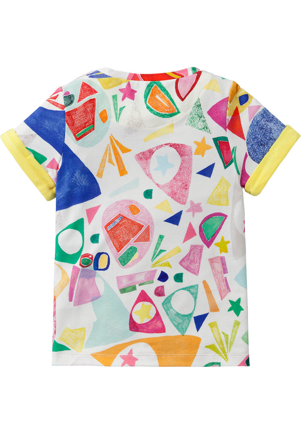 Geel jersey shirt met cut-out print Matisse style-Room Seven-92-Oilily.com