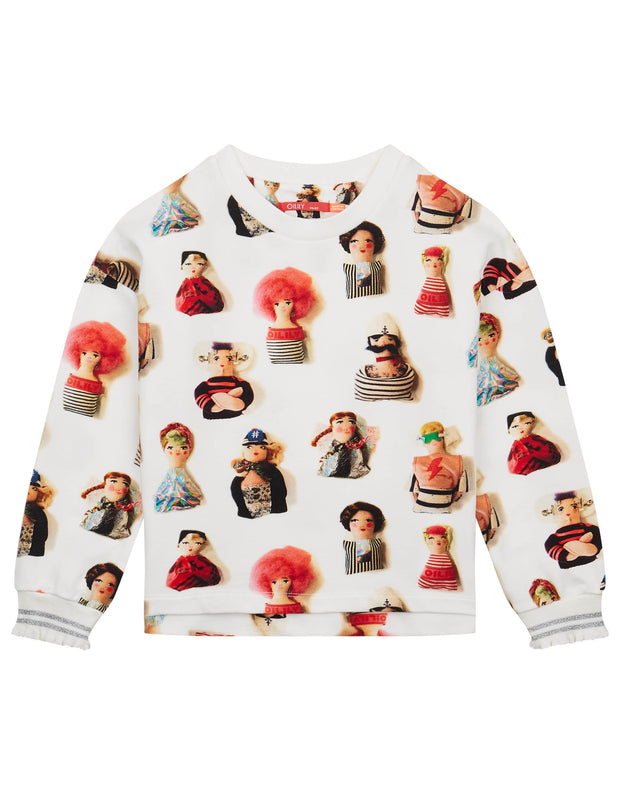 Holala biokatoen off-white sweater met urker dolls print