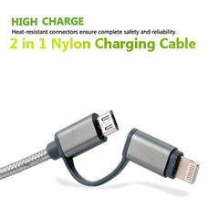 2-in-1 Lightning and Micro USB Cable 1ft