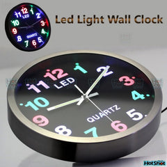 LED Wall Clock with colourful clock luminous dial analog