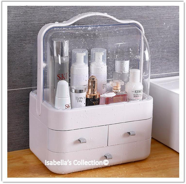 Makeup Organizer with Handle Cover Cosmetic Storage Drawer Cabinet