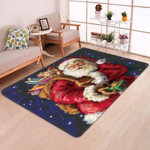 3D Christmas Santa Claus Anti-slip Kitchen Dinning Room Fireplace Floor Mat Flannel Carpet Rug Durable Xmas Home Decor Floor Rug