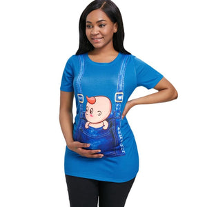 3D Print Pregnant Maternity Tee [ maternity dresses ] - Blue Ivy / S - T-Shirts