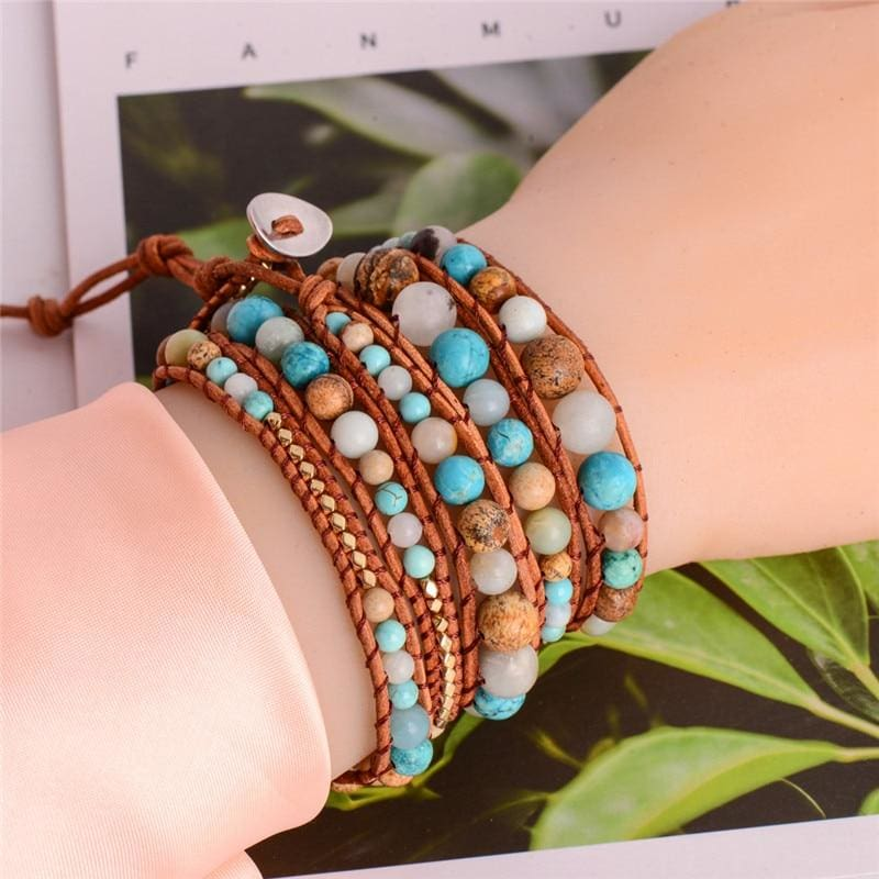 5X Leather Wrap Amazonite Gold Bracelet - Wrap Bracelets