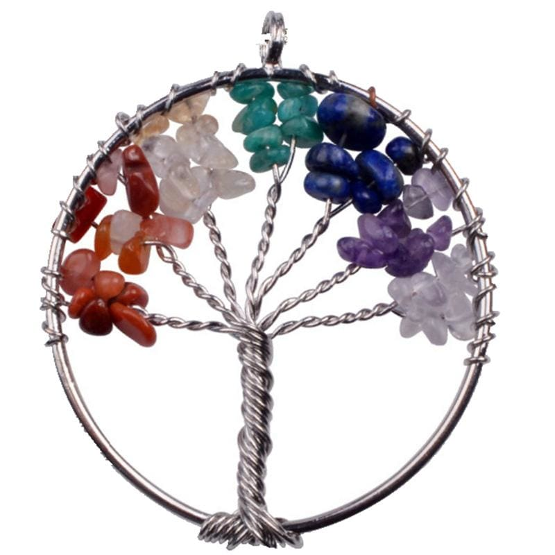 7 Chakra Healing Crystal Necklace Pendants - Merging root tree - Pendants
